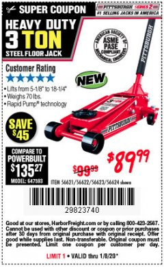 Harbor Freight Coupon RAPID PUMP 3 TON STEEL HEAVY DUTY FLOOR JACK Lot No. 56621/56622/56623/56624 Expired: 1/8/20 - $89.99