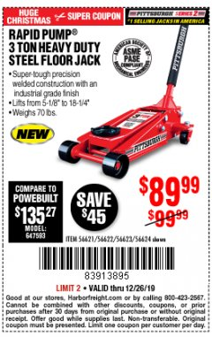 Harbor Freight Coupon RAPID PUMP 3 TON STEEL HEAVY DUTY FLOOR JACK Lot No. 56621/56622/56623/56624 Expired: 12/26/19 - $89.99