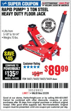 Harbor Freight Coupon RAPID PUMP 3 TON STEEL HEAVY DUTY FLOOR JACK Lot No. 56621/56622/56623/56624 Expired: 2/2/20 - $89.99