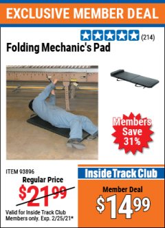 Harbor Freight ITC Coupon FOLDING MECHANIC'S PAD Lot No. 93896 Expired: 2/25/21 - $14.99