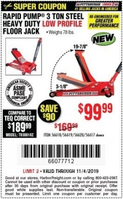 Harbor Freight Coupon RAPID PUMP 3 TON STEEL HEAVY DUTY LOW PROFILE FLOOR JACK Lot No. 56618/56619/56620/56617 Expired: 11/4/19 - $99.99