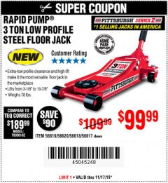 Harbor Freight Coupon RAPID PUMP 3 TON STEEL HEAVY DUTY LOW PROFILE FLOOR JACK Lot No. 56618/56619/56620/56617 Expired: 11/17/19 - $99.99