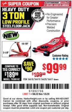 Harbor Freight Coupon RAPID PUMP 3 TON STEEL HEAVY DUTY LOW PROFILE FLOOR JACK Lot No. 56618/56619/56620/56617 Expired: 1/5/20 - $99.99