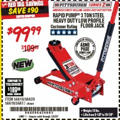 Harbor Freight Coupon RAPID PUMP 3 TON STEEL HEAVY DUTY LOW PROFILE FLOOR JACK Lot No. 56618/56619/56620/56617 Expired: 2/8/20 - $99.99