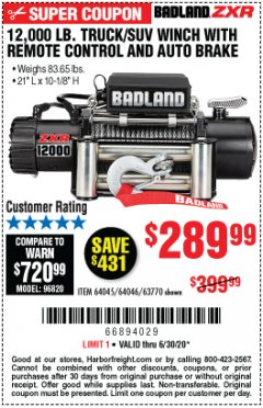 Harbor Freight Coupon 12,000 LB. TRUCK/SUV WINCH Lot No. 64045/64046/63770 EXPIRES: 6/30/20 - $289.99