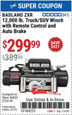 Harbor Freight Coupon 12,000 LB. TRUCK/SUV WINCH Lot No. 64045/64046/63770 Valid Thru: 7/5/20 - $299.99