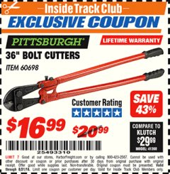 "Harbor Freight ITC Coupon 36"" BOLT CUTTERS Lot No. 41150/60698 Expired: 8/31/18 - $16.99"