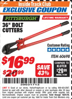 "Harbor Freight ITC Coupon 36"" BOLT CUTTERS Lot No. 41150/60698 Expired: 10/31/18 - $16.99"
