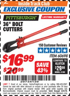 "Harbor Freight ITC Coupon 36"" BOLT CUTTERS Lot No. 41150/60698 Expired: 3/31/19 - $16.99"