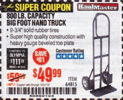 Harbor Freight Coupon 800 LB. CAPACITY BIG FOOT HAND TRUCK Lot No. 64815 Expired: 10/31/19 - $49.99