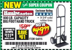 Harbor Freight Coupon 800 LB. CAPACITY BIG FOOT HAND TRUCK Lot No. 64815 Expired: 12/28/19 - $49.99