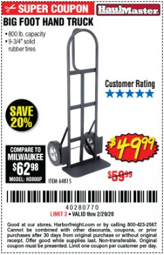 Harbor Freight Coupon 800 LB. CAPACITY BIG FOOT HAND TRUCK Lot No. 64815 Expired: 2/29/20 - $49.99