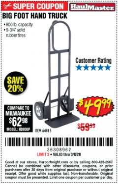 Harbor Freight Coupon 800 LB. CAPACITY BIG FOOT HAND TRUCK Lot No. 64815 Expired: 3/8/20 - $49.99