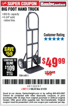 Harbor Freight Coupon 800 LB. CAPACITY BIG FOOT HAND TRUCK Lot No. 64815 Expired: 3/1/20 - $49.99