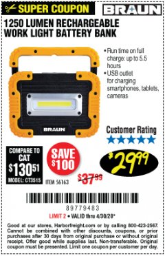 Harbor Freight Coupon 1250 LUMEN RECHARGEABLE WORK LIGHT BATTERY BANK Lot No. 56163 EXPIRES: 6/30/20 - $29.99