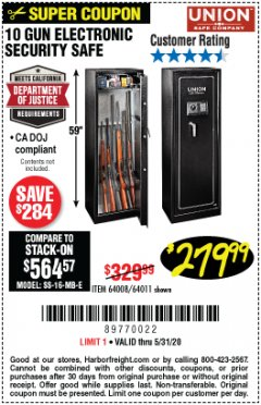 Harbor Freight Coupon UNION 10 GUN ELECTRONIC SECURITY SAFE Lot No. 64011/64008 EXPIRES: 6/30/20 - $279.99