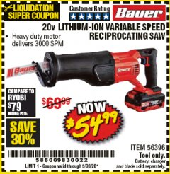Harbor Freight Coupon 20V LITHIUM-ION VARIABLE SPEED RECIPROCATING SAW WITH KEYLESS CHUCK Lot No. 56396 EXPIRES: 6/30/20 - $54.99