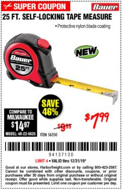 Harbor Freight Coupon 25 FT. SELF-LOCKING TAPE MEASURE Lot No. 56350 Expired: 12/31/19 - $7.99