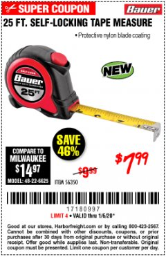 Harbor Freight Coupon 25 FT. SELF-LOCKING TAPE MEASURE Lot No. 56350 Expired: 1/6/20 - $7.99