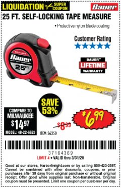 Harbor Freight Coupon 25 FT. SELF-LOCKING TAPE MEASURE Lot No. 56350 Valid Thru: 3/31/20 - $6.99