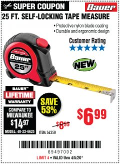 Harbor Freight Coupon 25 FT. SELF-LOCKING TAPE MEASURE Lot No. 56350 Valid Thru: 4/5/20 - $6.99