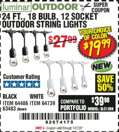Harbor Freight Coupon 24 FT., 18 BULB, 12 SOCKET OUTDOOR LINKABLE STRING LIGHTS Lot No. 64486/63483 Expired: 1/27/20 - $19.99