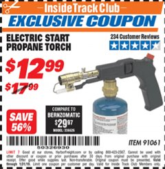 Harbor Freight ITC Coupon ELECTRIC START PROPANE TORCH Lot No. 91061 Expired: 1/31/19 - $12.99