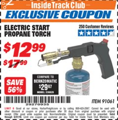 Harbor Freight ITC Coupon ELECTRIC START PROPANE TORCH Lot No. 91061 Expired: 3/31/19 - $12.99