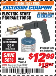 Harbor Freight ITC Coupon ELECTRIC START PROPANE TORCH Lot No. 91061 Expired: 1/31/20 - $12.99