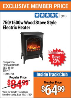 Harbor Freight ITC Coupon 750/1500 WATT WOOD STOVE STYLE ELECTRIC HEATER Lot No. 61796/68754 Valid Thru: 10/31/20 - $64.99