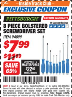 Harbor Freight ITC Coupon 8 PIECE BOLSTERED SCREWDRIVER SET Lot No. 94899 Expired: 4/30/19 - $7.99