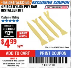 Harbor Freight ITC Coupon 4 PIECE NYLON PRY BAR INSTALLER SET Lot No. 63468/95214/63594/69688 Expired: 2/25/20 - $4.99