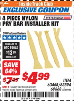 Harbor Freight ITC Coupon 4 PIECE NYLON PRY BAR INSTALLER SET Lot No. 63468/95214/63594/69688 Expired: 3/31/20 - $4.99