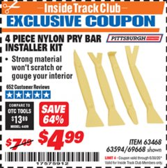 Harbor Freight ITC Coupon 4 PIECE NYLON PRY BAR INSTALLER SET Lot No. 63468/95214/63594/69688 Expired: 6/30/20 - $4.99