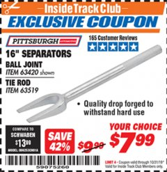 "Harbor Freight ITC Coupon 16"" SEPARATORS Lot No. 63420, 63519 Expired: 10/31/19 - $7.99"
