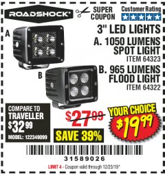 "Harbor Freight Coupon ROADSHOCK 965 LUMENS 3"" FLOOD LIGHT OR 1050 LUMENS 3"" SPOT LIGHT Lot No. 64322/64323 Expired: 12/23/19 - $19.99"
