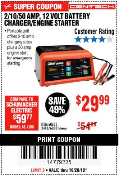Harbor Freight Coupon CEN-TECH 2/10/50 AMP, 12 VOLT BATTERY CHARGER/ENGINE STARTER Lot No. 60653/3418/60581 Expired: 10/20/19 - $29.99