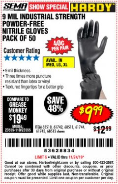Harbor Freight Coupon POWDER-FREE NITRILE GLOVES PACK OF 50 Lot No. 68510/61742/68511/61744/68512/61743 Expired: 11/24/19 - $9.99