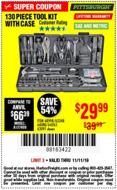 Harbor Freight Coupon PITTSBURGH 130 PIECE TOOL KIT WITH CASE Lot No. 68998/63248/64080/64263/63091 Expired: 11/11/19 - $29.99