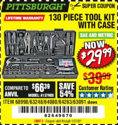 Harbor Freight Coupon PITTSBURGH 130 PIECE TOOL KIT WITH CASE Lot No. 68998/63248/64080/64263/63091 Expired: 1/27/20 - $29.99