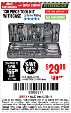 Harbor Freight Coupon PITTSBURGH 130 PIECE TOOL KIT WITH CASE Lot No. 68998/63248/64080/64263/63091 Expired: 12/26/19 - $29.99