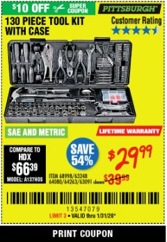 Harbor Freight Coupon PITTSBURGH 130 PIECE TOOL KIT WITH CASE Lot No. 68998/63248/64080/64263/63091 Expired: 1/31/20 - $29.99