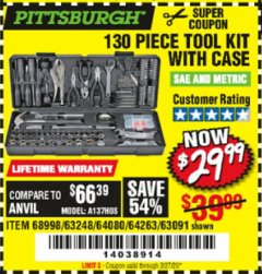 Harbor Freight Coupon PITTSBURGH 130 PIECE TOOL KIT WITH CASE Lot No. 68998/63248/64080/64263/63091 Valid Thru: 2/27/20 - $29.99