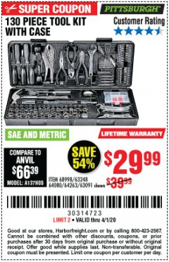 Harbor Freight Coupon PITTSBURGH 130 PIECE TOOL KIT WITH CASE Lot No. 68998/63248/64080/64263/63091 Valid Thru: 4/1/20 - $29.99