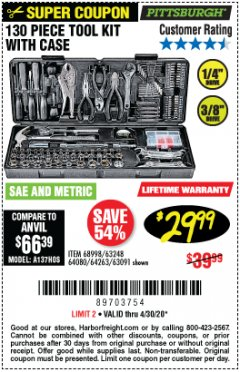 Harbor Freight Coupon PITTSBURGH 130 PIECE TOOL KIT WITH CASE Lot No. 68998/63248/64080/64263/63091 EXPIRES: 6/30/20 - $29.99