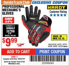 Harbor Freight ITC Coupon HARDY PROFESSIONAL MECHANIC'S GLOVES Lot No. 62524/64731/62525/56249/64947/62526 Expired: 10/22/19 - $9.99