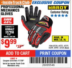 Harbor Freight ITC Coupon HARDY PROFESSIONAL MECHANIC'S GLOVES Lot No. 62524/64731/62525/56249/64947/62526 Expired: 1/7/20 - $9.99