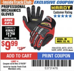 Harbor Freight ITC Coupon HARDY PROFESSIONAL MECHANIC'S GLOVES Lot No. 62524/64731/62525/56249/64947/62526 Expired: 2/18/20 - $9.99