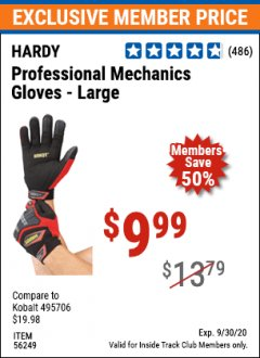 Harbor Freight ITC Coupon HARDY PROFESSIONAL MECHANIC'S GLOVES Lot No. 62524/64731/62525/56249/64947/62526 Expired: 9/30/20 - $9.99