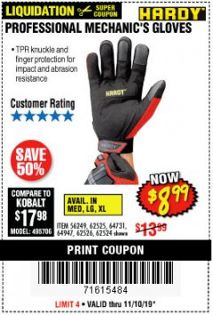 Harbor Freight Coupon HARDY PROFESSIONAL MECHANIC'S GLOVES Lot No. 62524/64731/62525/56249/64947/62526 Expired: 11/10/19 - $8.99